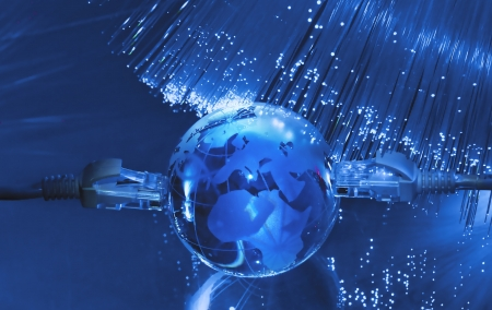 fiber optic cable: hi-tech earth globe internet background