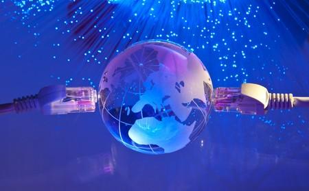 world map technology style against fiber optic background  photo