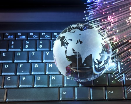 globe against fiber optic background  photo