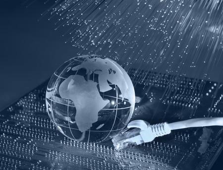 world map technology style against fiber optic background Stock Photo - 8153653