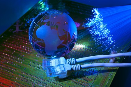 world map technology style against fiber optic background  Stock Photo - 8152224