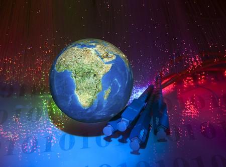 world map technology style against fiber optic background Stock Photo - 8141918