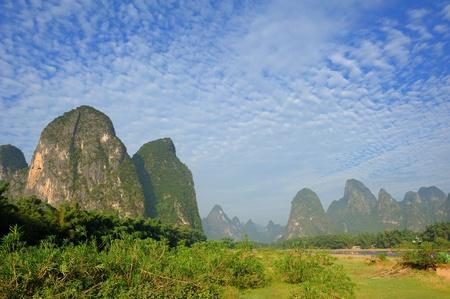 Beautiful Karst mountain landscape in Yangshuo Guilin, China   photo