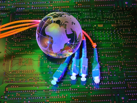 electronic printed circuit board with   technology style against fiber optic background   photo