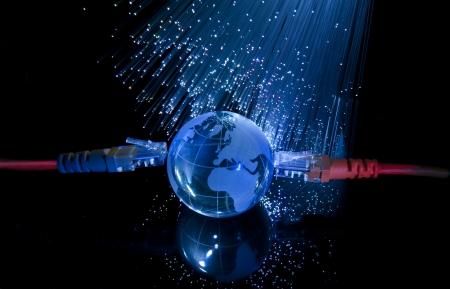 world map technology style against fiber optic background Stock Photo - 8310330