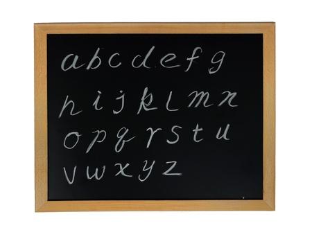 alphabet letters handwritten on blackboard photo
