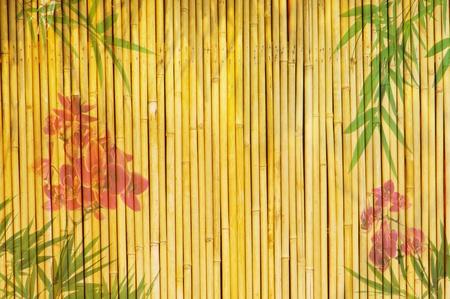 rietkraag: Lotus en bamboe achtergrond