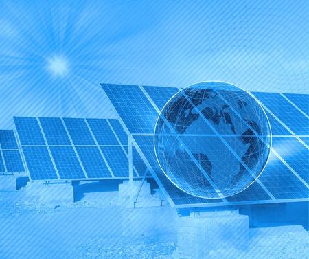 solar panel with desert house photo