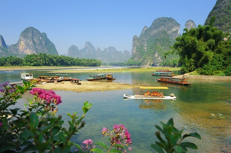 karst: Beautiful Karst mountain landscape in Yangshuo Guilin, China   Stock Photo