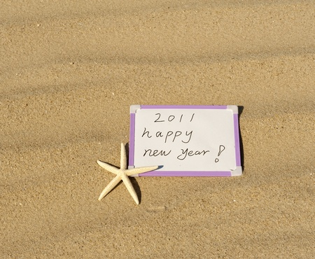 Shot of 2011 year on sand photo