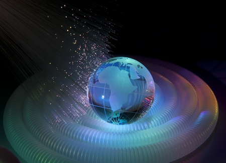 world map technology style against fiber optic background Stock Photo - 8526904