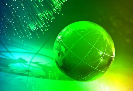 hitech: globe with high technology background