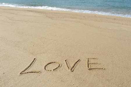 romantic: i Love you in the sand