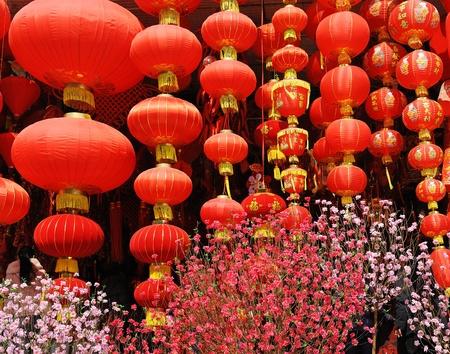 Festive chinese red lantern decorations