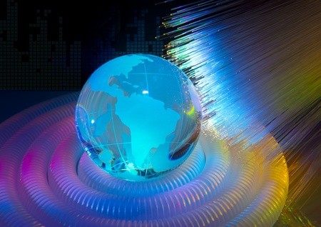 globe with high technology background photo