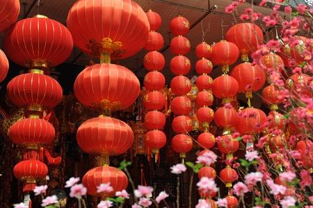 Festive chinese red lantern decorations photo