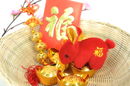 greeting for Chinese Rabbit New Year Stock Photo - 8944093