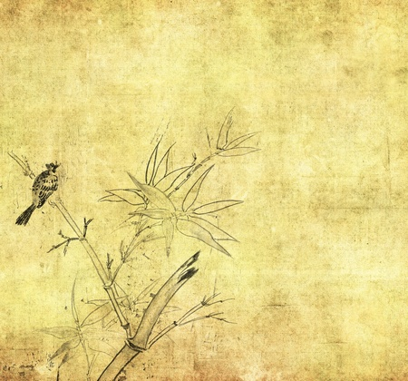 Silhouette of branches of a bamboo and bird on paper background  photo