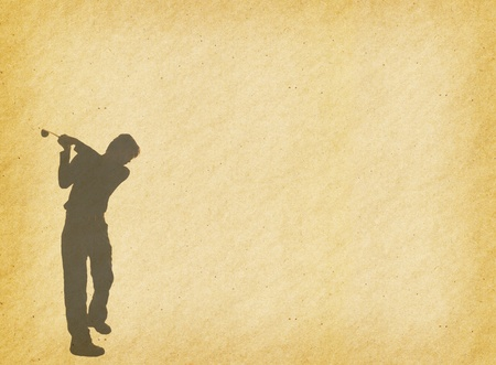 silhouette of a golfer on a bright sky on abstract painted background  photo