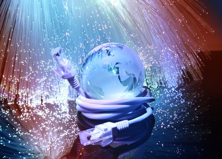 high tech world: globe with high technology background  Stock Photo