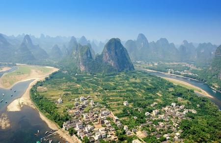 Beautiful Karst mountain landscape in Yangshuo Guilin, China Stock Photo - 9104510