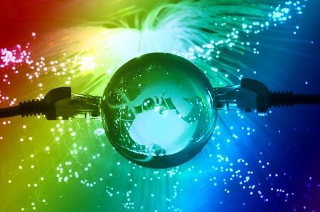world map technology style against fiber optic background Stock Photo - 9104340