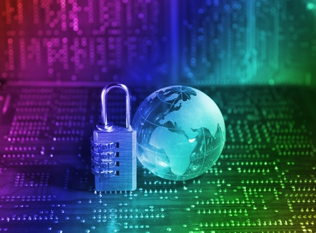 information security: Lock and world map with computer keyboard background   Stock Photo