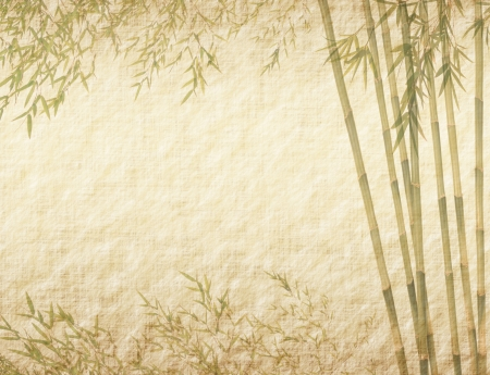 bamboo on old grunge antique paper texture   Stock Photo