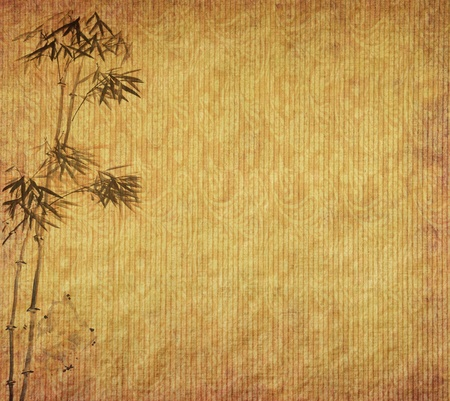 bamboo stick: bamboo on old grunge antique paper texture   Stock Photo