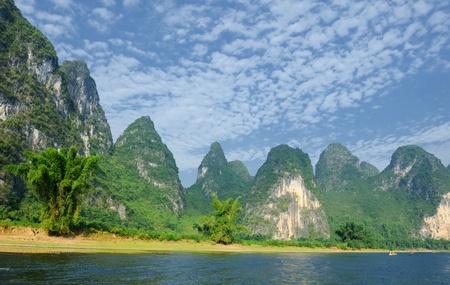 karst: Beautiful Karst mountain landscape in Yangshuo Guilin, China   Stock Photo