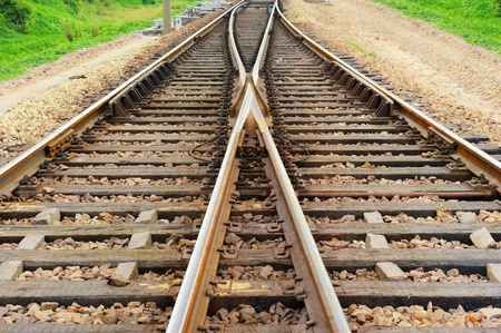 Rail Road Tracks - electrical. Looking down the train tracks Stock Photo