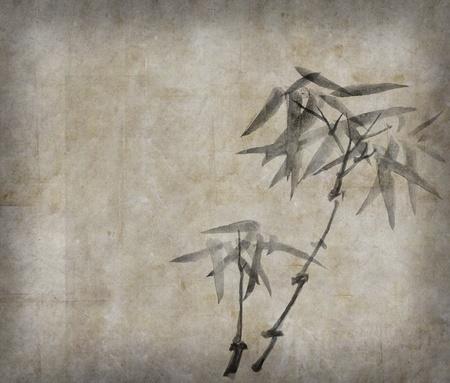 伝統: [背景に用紙を竹の枝のシルエット