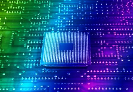 componentes: microprocesadores centrales para un equipo en un fondo de �ptica de fibra de tecnolog�a   Foto de archivo