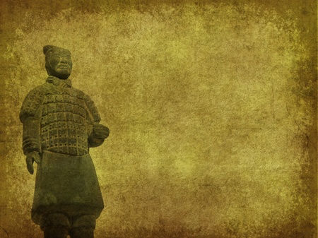 terracotta army figure in china on old grunge antique paper texture