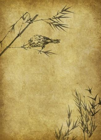 rietkraag: Light Golden bamboe achtergrond goed voor elk project. frame van bamboe-bladeren achtergrond.