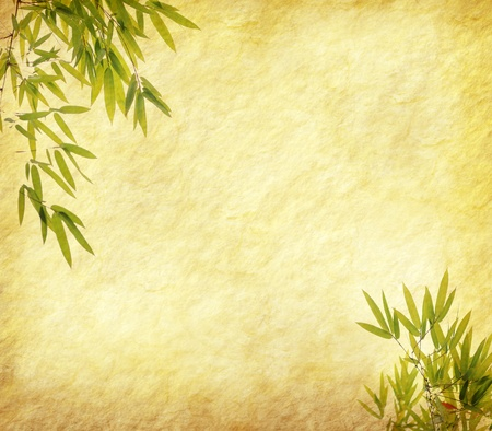 design of chinese bamboo trees with texture of handmade paper Stock Photo - 9617309