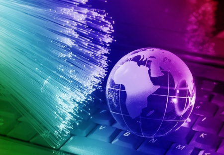 world map technology style against fiber optic background Stock Photo - 9697492