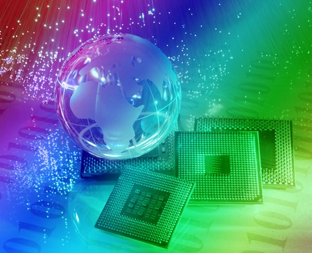 central microprocessors for a computer on a technology fiber optic background Stock Photo - 9697562