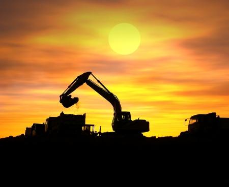 excavate: digger shovel working at subset