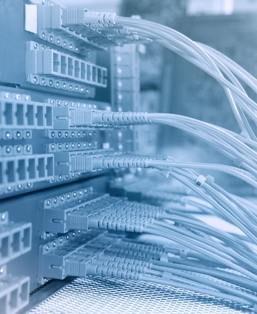 storage room: communication and internet network server room Stock Photo