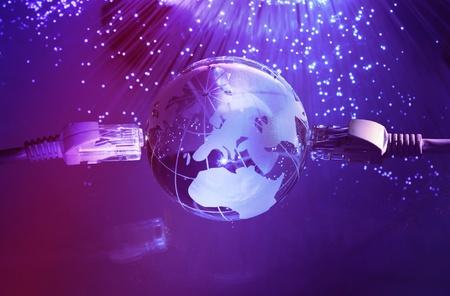 fibre optique: style de monde de la technologie carte sur fond de fibre optique