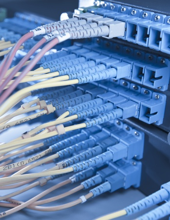 telecommunication equipment: communication and internet network server room Stock Photo