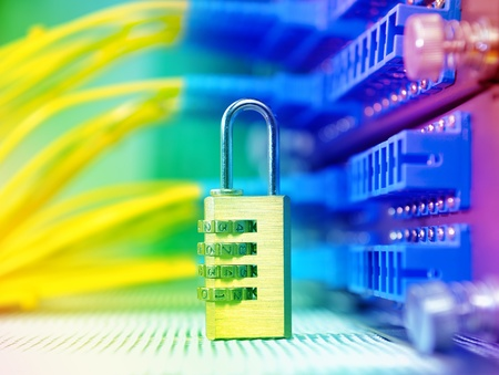 secured: lock and communication and internet network server