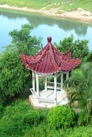 the gloriette: hot spring on a river with chinese gloriette