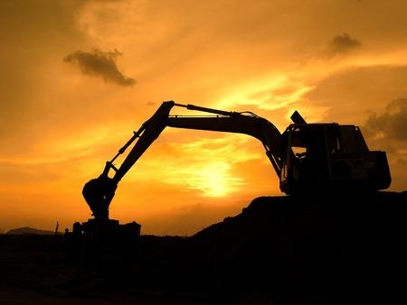 digger shovel working at subset Stock Photo