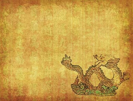 ancient tradition: Drag�n chino y textura de fondo Foto de archivo