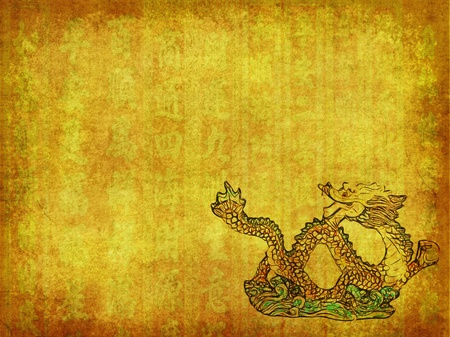 Dragon and texture handwriting background