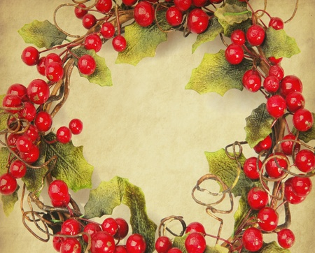 cherry framework of christmas decorations on paper  photo