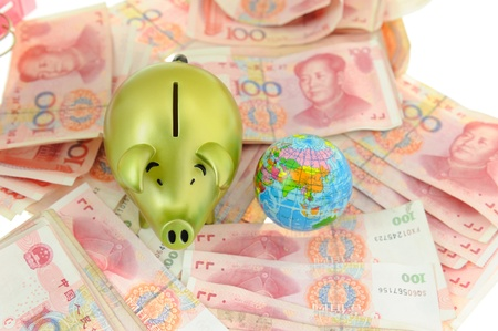 China One Hundred RMB and Piggy bank photo