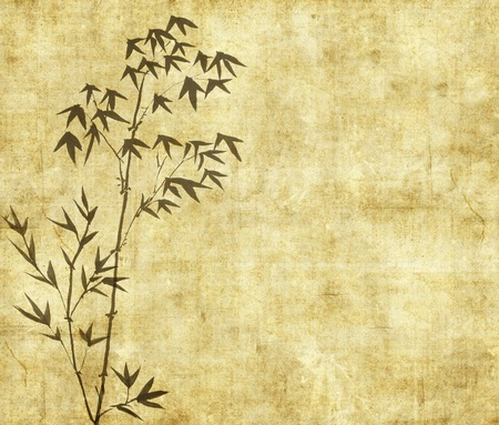 fengshui: design of chinese bamboo trees with texture of handmade paper